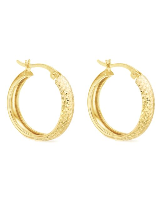 Ib&b - Metallic 9ct Yellow Gold Diamond Cut Creole Earrings - Lyst