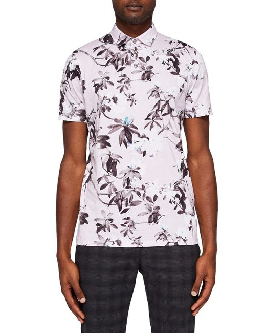 Ted Baker | Pink Scruff Floral Print Polo Shirt for Men | Lyst