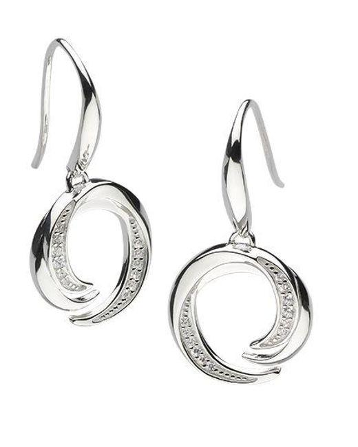 Kit Heath - Metallic Twist Cubic Zirconia Drop Earrings - Lyst