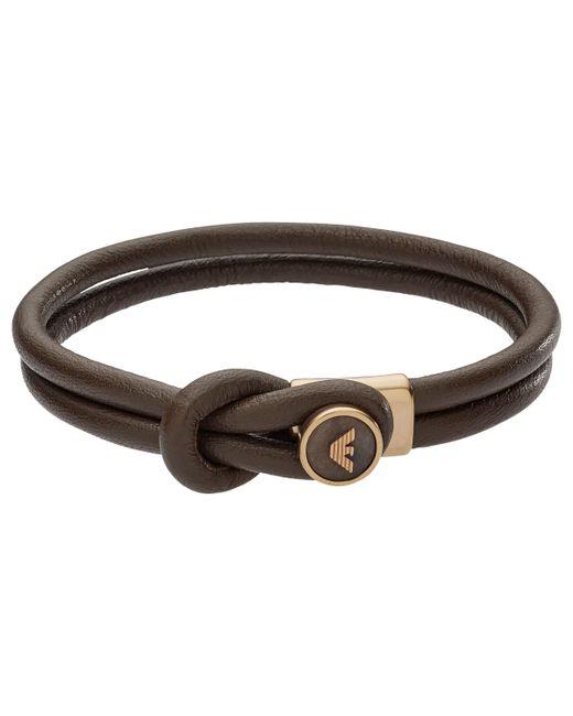 Emporio Armani - Brown Men's Leather Bracelet for Men - Lyst