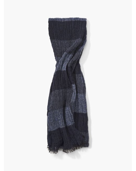 John Varvatos | Blue Crinkled Tri-color Rugby Stripe Scarf for Men | Lyst