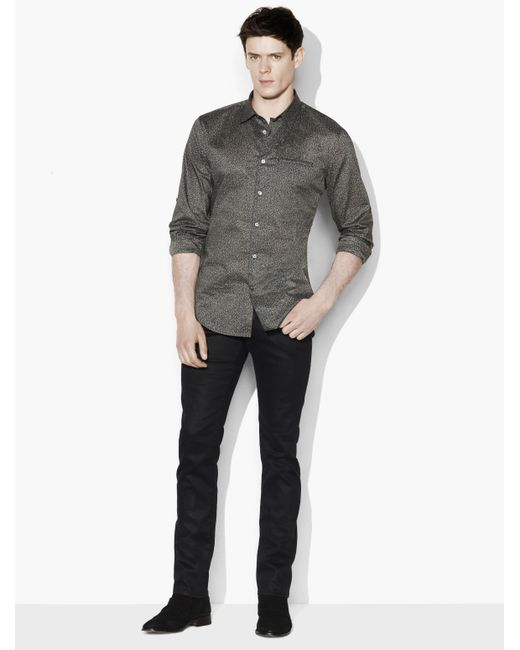 John Varvatos | Gray Dobby Speckled Sport Shirt for Men | Lyst