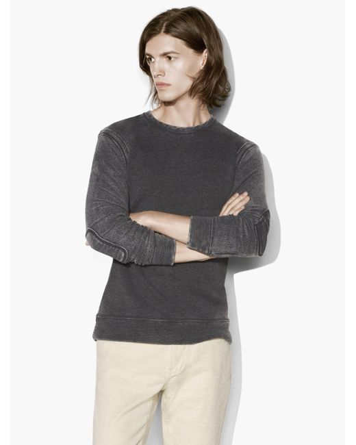 John Varvatos | Gray French-terry Crewneck for Men | Lyst