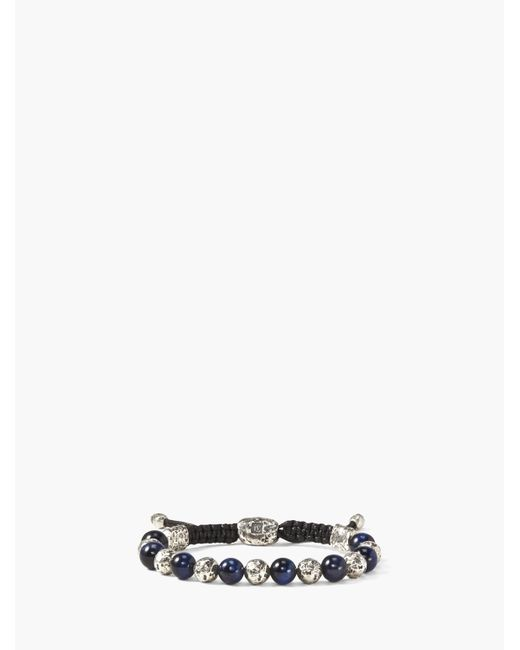John Varvatos - Metallic Artisanal Silver & Tiger Eye Beaded Bracelet for Men - Lyst