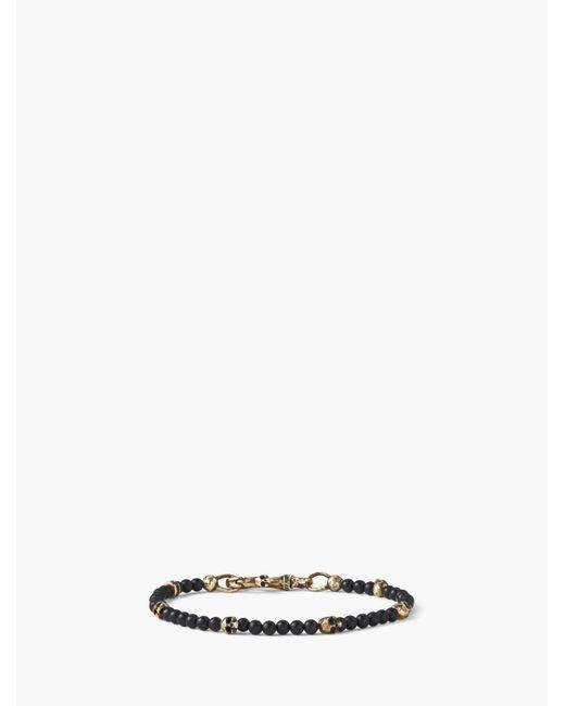 John Varvatos - Black Beaded Bracelet With Brass Skulls for Men - Lyst