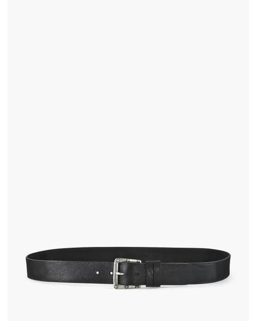 John Varvatos | Black Leather Belt W/ Studded Rivet Buckle for Men | Lyst