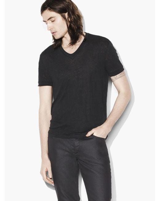 John Varvatos | Black Linen V-neck for Men | Lyst