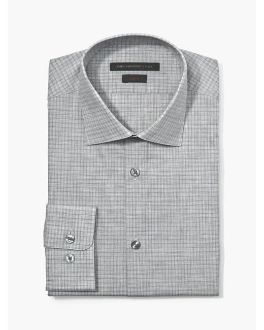 John Varvatos - Gray Slim Fit Melange Check Shirt for Men - Lyst