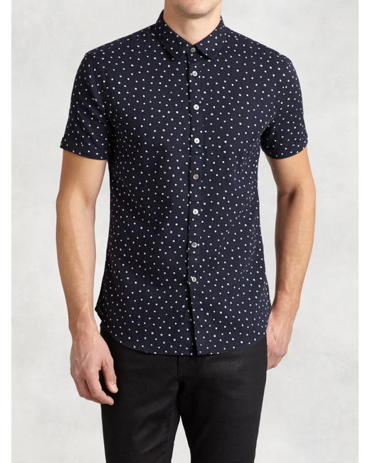 John varvatos abstract polka dot short sleeve shirt in for Mens polka dot shirt short sleeve