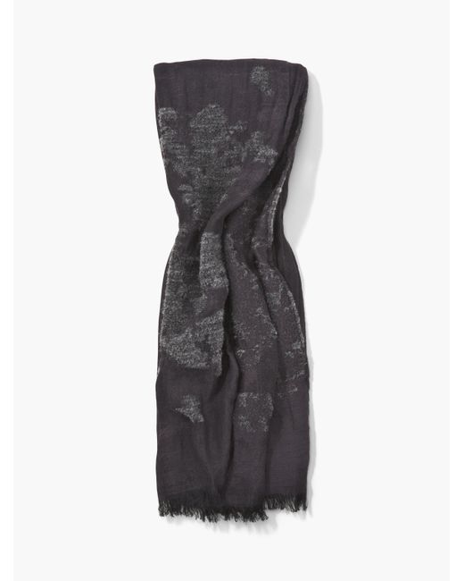 John Varvatos | Gray Crinkled Scarf With Chenille Detail for Men | Lyst
