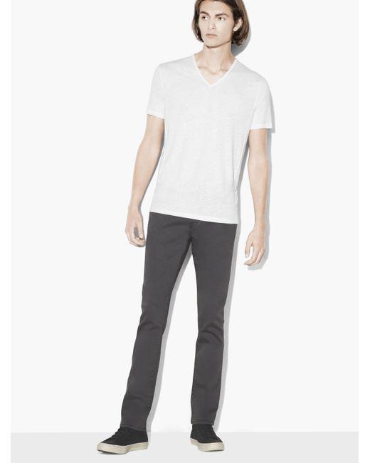 John Varvatos - White Short Sleeve Slub V-neck Tee for Men - Lyst