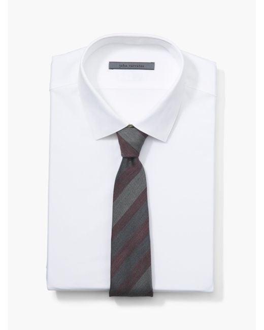 John Varvatos - White Diagonal Striped Tie for Men - Lyst