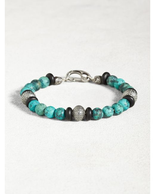 John Varvatos | Metallic Turquoise & Onyx Bracelet With Sterling Silver Urchins for Men | Lyst