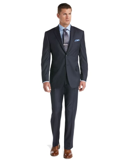 BLUE SUIT STYLING. The new blue suits offer a variety of shades, patterns and fits. A blue suit is one of the most versatile options in a man's wardrobe. Today, the classic navy suit has been joined in our collections by royal blue suits, light blue suits and those sporting tonal stripes and patterns—from herringbone to sharkskin.