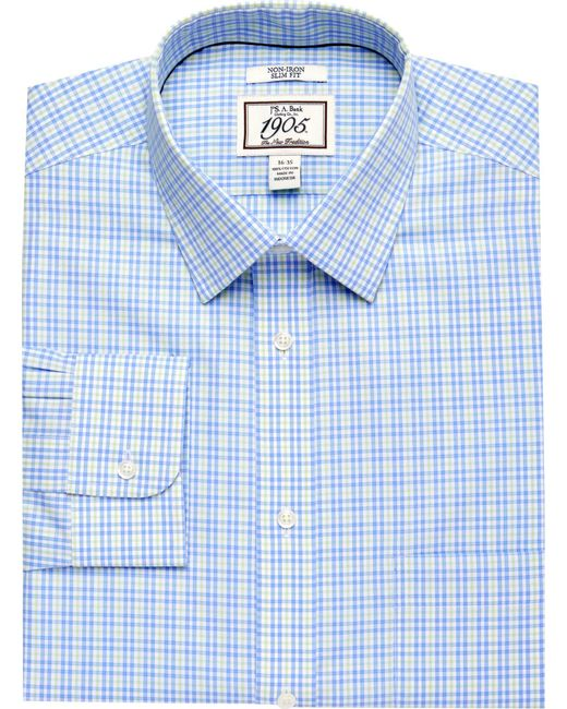 Lyst jos a bank 1905 collection slim fit spread collar for Jos a bank slim fit vs tailored fit shirts