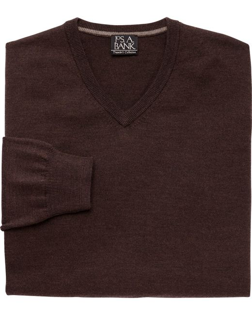 Jos. A. Bank | Brown Traveler Collection Merino Wool V-neck Sweater - Big & Tall for Men | Lyst