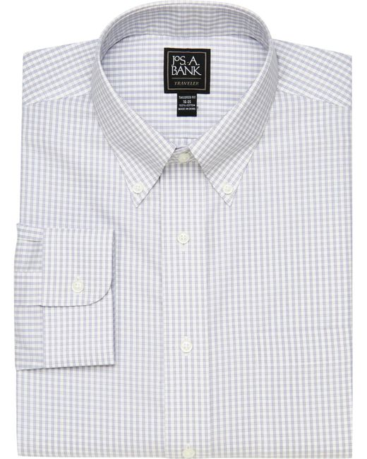Jos. A. Bank - Multicolor Traveler Collection Tailored Fit Button-down Collar Tattersall Dress Shirt for Men - Lyst