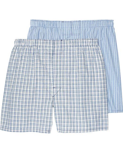 Jos. A. Bank - Blue Plaid & Stripe Woven Boxers, 2-pack for Men - Lyst