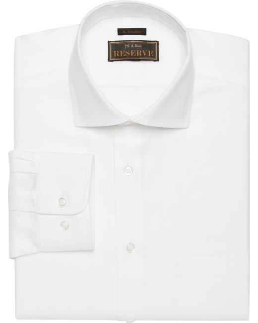 Jos. A. Bank - White Reserve Collection Traditional Fit Spread Collar Herringbone Weave Dress Shirt for Men - Lyst