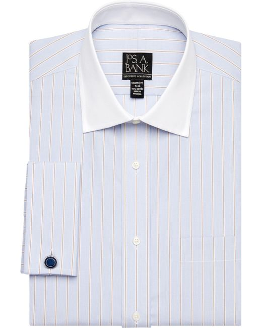 Lyst jos a bank executive collection tailored fit for Wide spread collar shirt