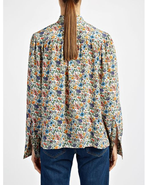 joseph liberty print cora blouse lyst. Black Bedroom Furniture Sets. Home Design Ideas