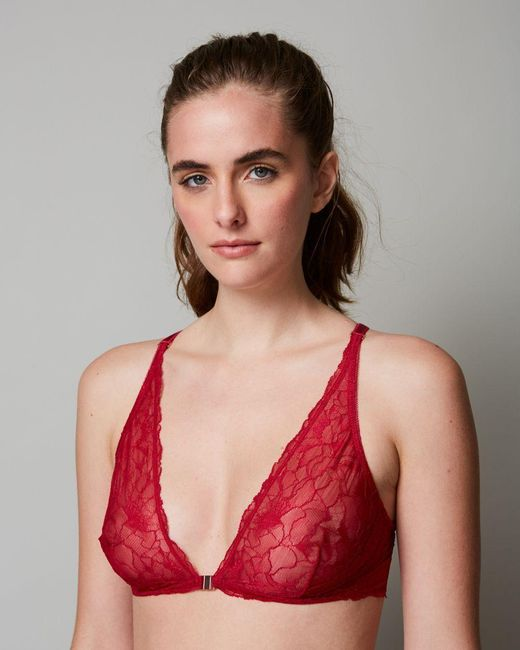 Samantha Chang - Red All Lace Glamour Halter Bra - Lyst