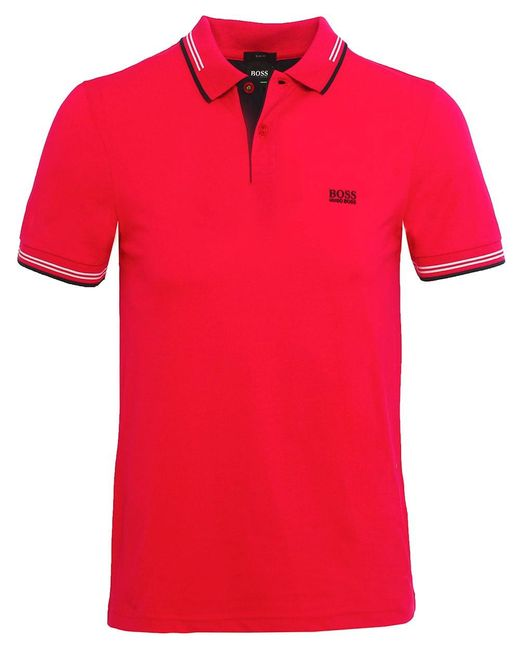 BOSS - Pink Slim Fit Paul Polo Shirt for Men - Lyst