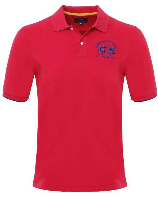 La Martina - Red Plain Polo Shirt for Men - Lyst