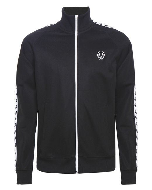 Fred Perry - Sports Authentic Taped Track Jacket In Black for Men - Lyst