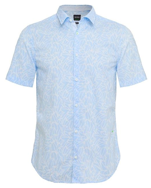 BOSS - Blue Slim Fit Short Sleeve Brodi_s Floral Shirt for Men - Lyst