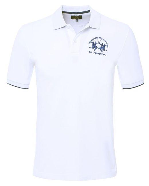 La Martina - White Plain Polo Shirt for Men - Lyst