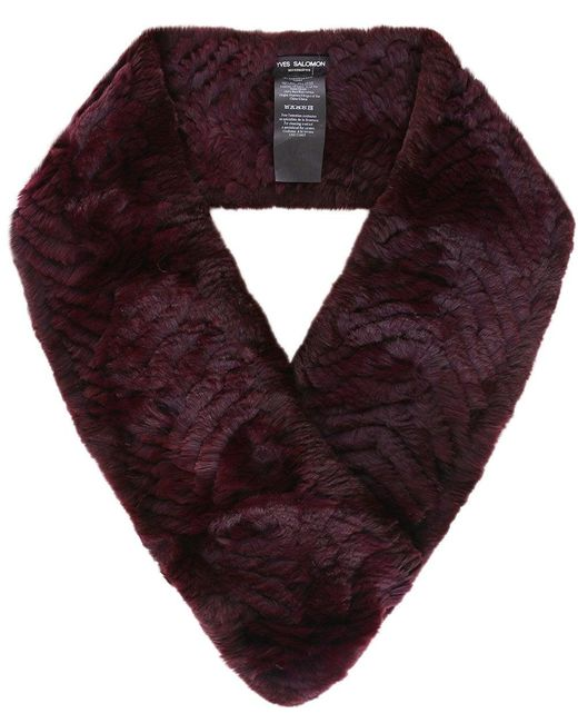Yves Salomon - Red Knitted Fur Loop Scarf - Lyst