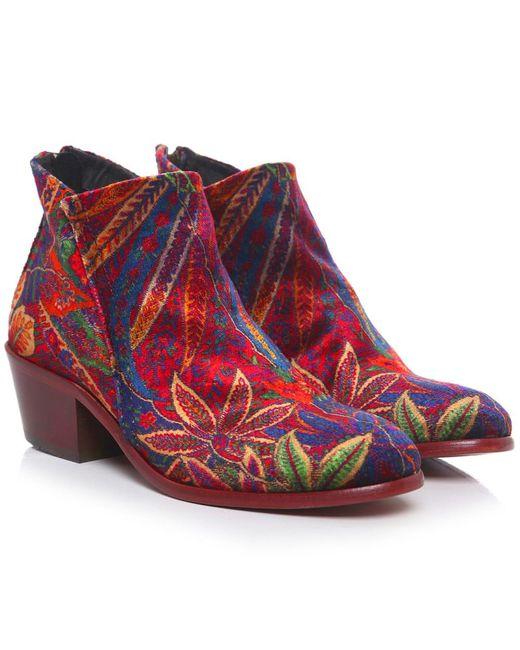 H by Hudson   Red Apisi Liberty Velvet Boots   Lyst