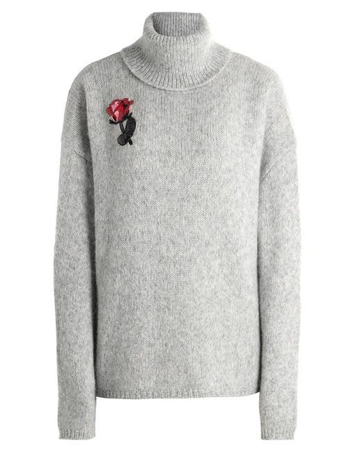 Markus Lupfer | Gray Alpaca Embroidered Rose Jumper | Lyst