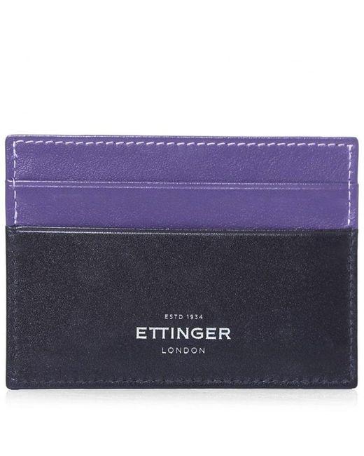 Ettinger - Purple Calf Leather Sterling Flat Card Case for Men - Lyst