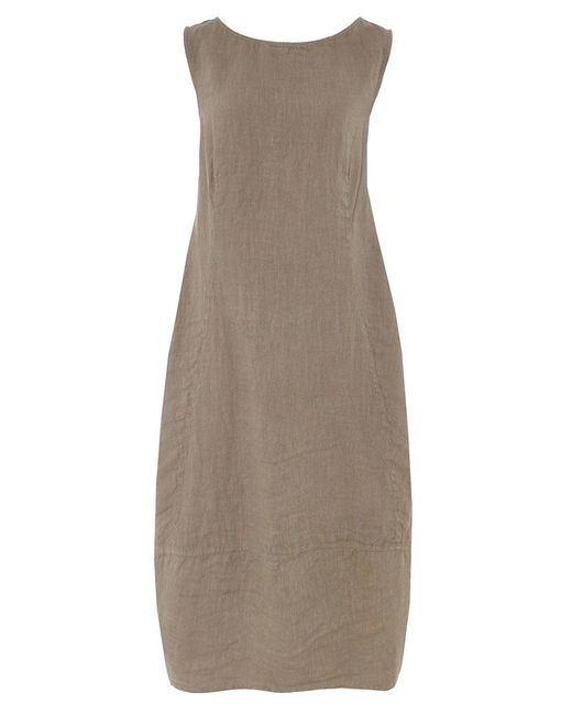 Grizas - Natural Linen High Neck Dress - Lyst