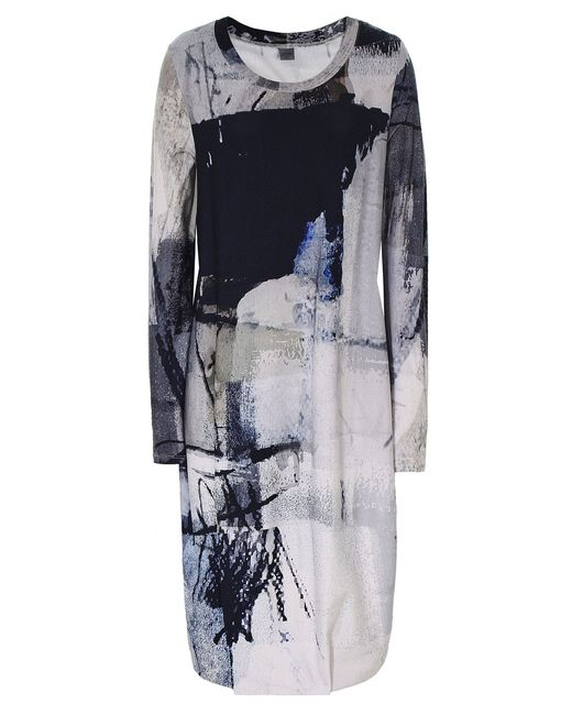 Crea Concept - White Abstract Print Jersey Midi Dress - Lyst