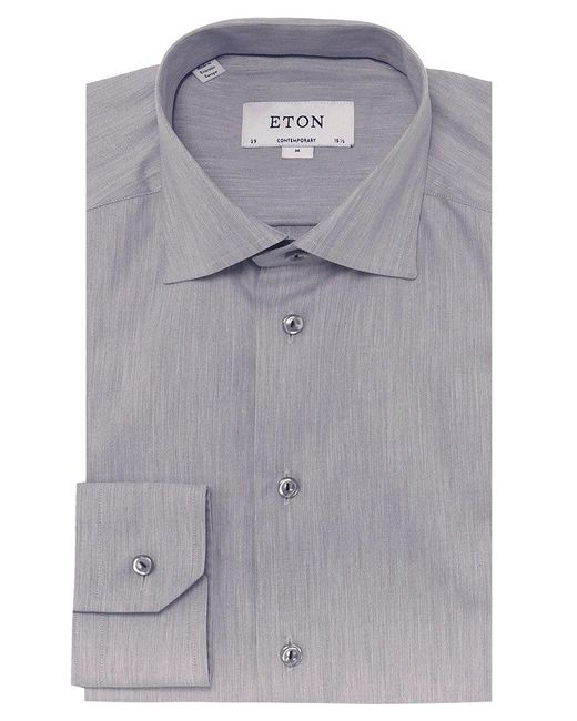 Eton of Sweden   Gray Contemporary Fit Twill Shirt for Men   Lyst