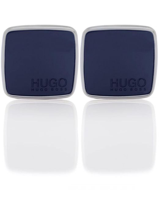 HUGO | Blue E-stain Brass Cufflinks for Men | Lyst
