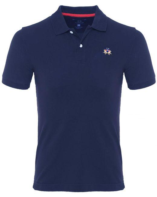 La Martina - Blue Slim Fit Pique Polo Shirt for Men - Lyst