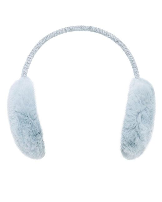 Yves Salomon - Blue Wool Strap Fur Ear Muffs - Lyst
