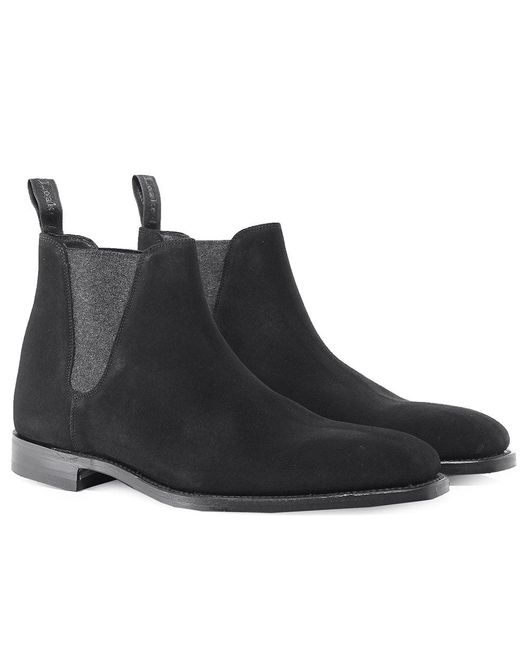 Loake - Black Suede Caine Chelsea Boots for Men - Lyst