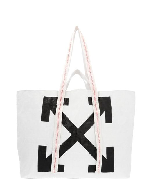 Off-White c/o Virgil Abloh White New Commercial Handbag In Polyethylene With Black Arrows Printed On The Front.