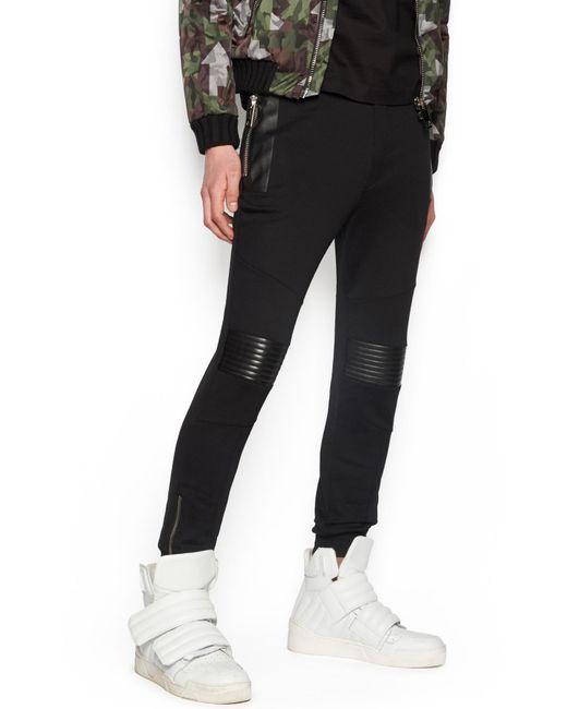 Les Hommes - Black Leather Details Sweatpants for Men - Lyst
