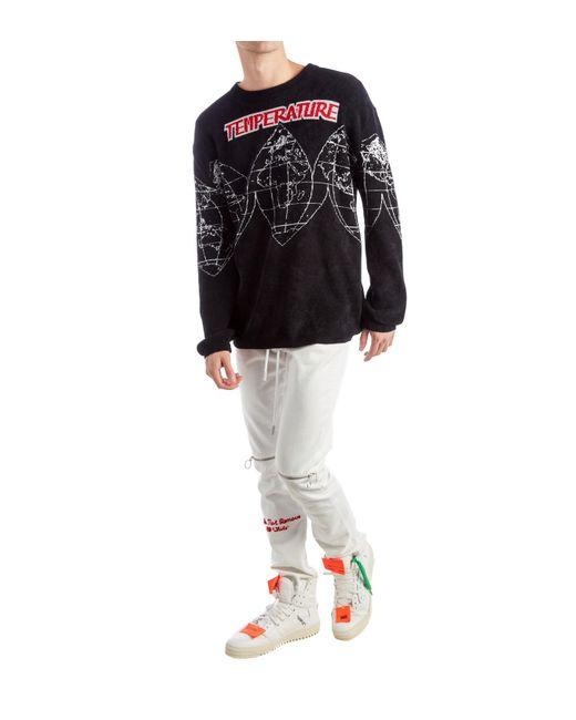 Off-White c/o Virgil Abloh - Black Maps Chenille Jacquard Knit Sweater for Men - Lyst