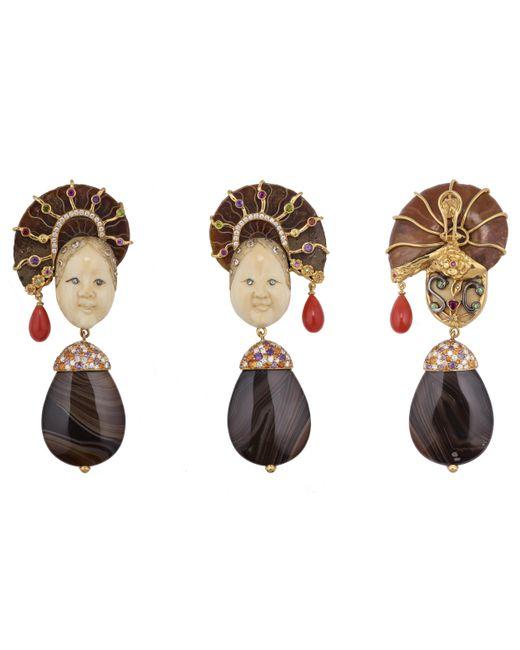Sylvie Corbelin | Metallic Japanese Women Face Earrings | Lyst