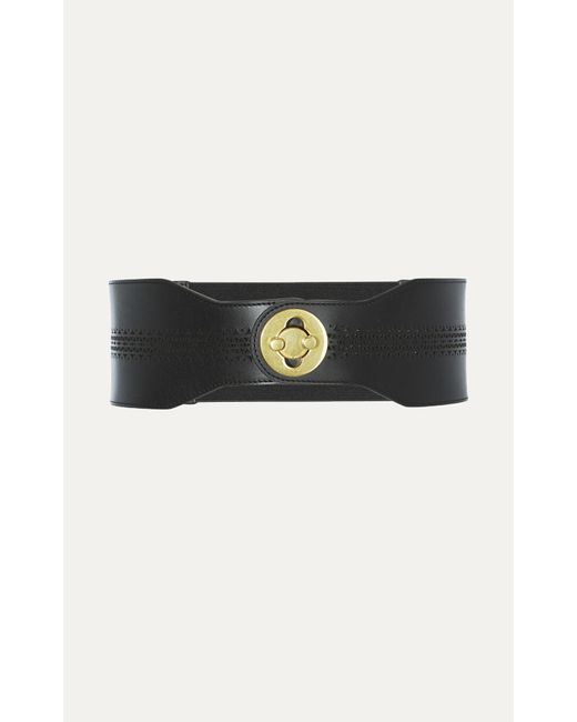 Karen Millen | Leather Laser-cut Belt - Black | Lyst