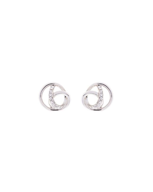 Karen Millen - Metallic Crystal Ribbon Earrings - Silver Colour - Lyst