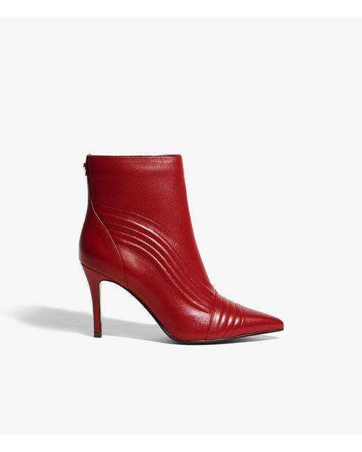 Karen Millen - Red Women's Pointed Toe Nappa Leather High-heel Booties - Lyst