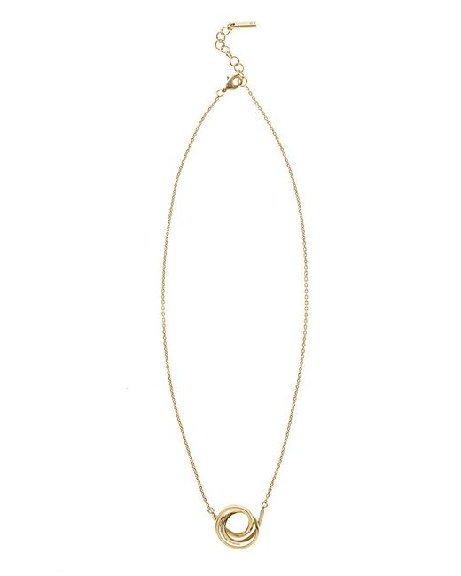Karen Millen | Metallic Crystal Ribbon Pendant - Gold Colour | Lyst